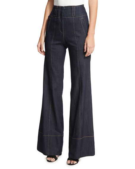 Talia High-Waist Denim Wide-Leg Pants, Indigo