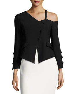 Peri Crepe Asymmetric Jacket, Black