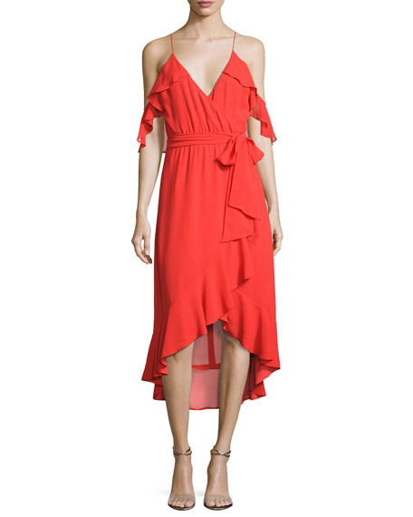 V-Neck Georgette Ruffled Wrap Dress, Red