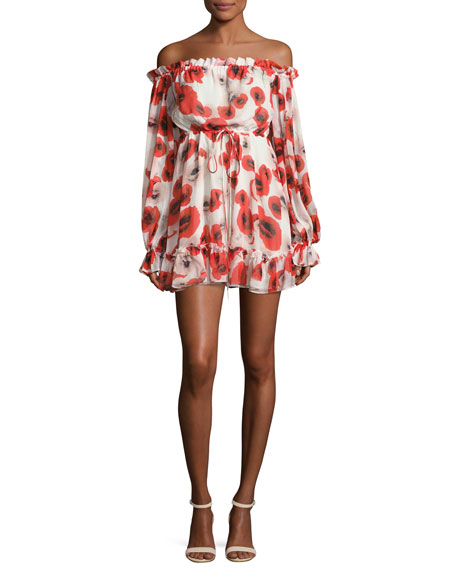 99562075c001 NICHOLAS Poppy Floral Off-the-Shoulder Silk Mini Dress