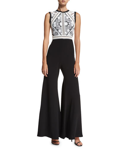 Reily Sleeveless High-Neck Lace-Bodice Jumpsuit