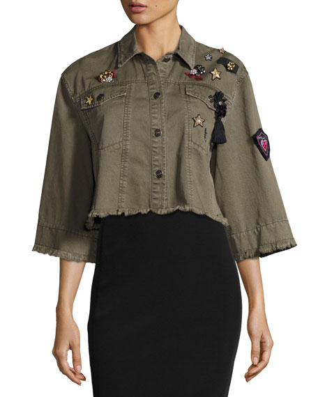 Willow Embroidered Cape Jacket, Olive
