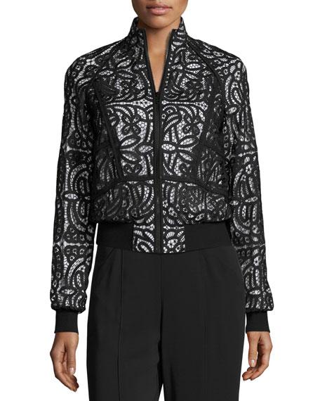 Boxy Paneled Lace Jacket, Black