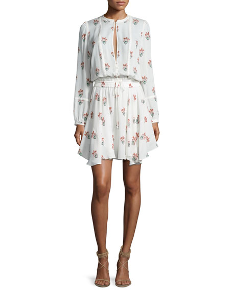 A.L.C. Dasha Long-Sleeve Printed Silk Dress