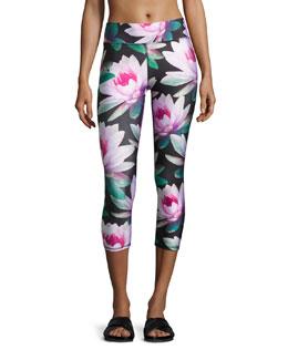 Loving Lotus Tall Band Capri Leggings, Multipattern