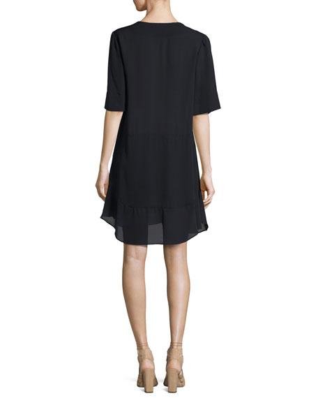 Delaney Short-Sleeve Silk Shift Dress, Navy