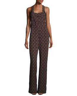 Kitt Sleeveless Abstract Silk Jumpsuit, Black