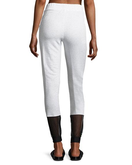 Ash French Terry Fishnet Jogger Pants, Gray/Black