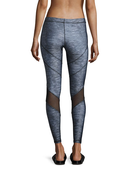 Chevron Heathered Fishnet Leggings, Gray