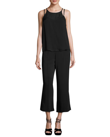 Veron Silk Double-Strap Camisole, Black