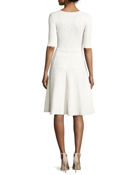 Grayson Eyelet Ponte Fit-and-Flare Dress, White