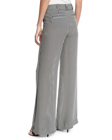 Miles Striped Silk Wide-Leg Pants, Black/White