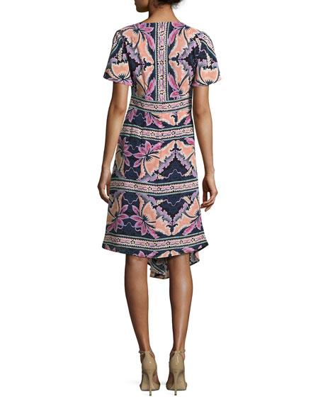 Short-Sleeve Asymmetric Printed Silk Dress, Black/Multicolor