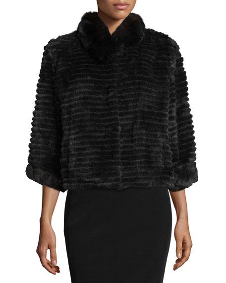 High-Collar Layered Fur Coat