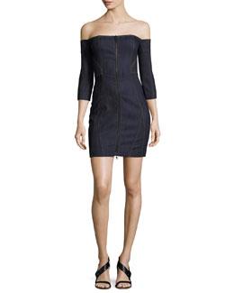 Fenton Denim Off-the-Shoulder Zip-Front Mini Dress, Indigo