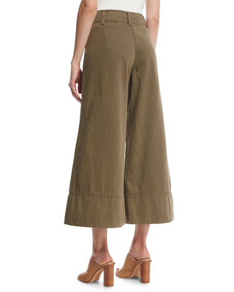 Knox Belted Twill Culottes, Olive