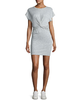 Pier Stretch Jersey Twist-Front Mini Dress, Light Gray