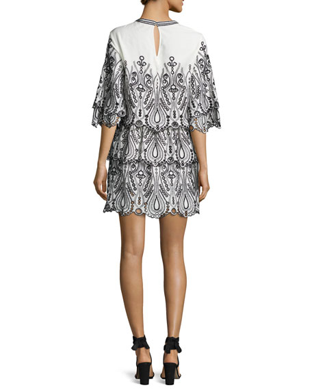 Noor Tiered Embroidered Mini Dress, White/Black