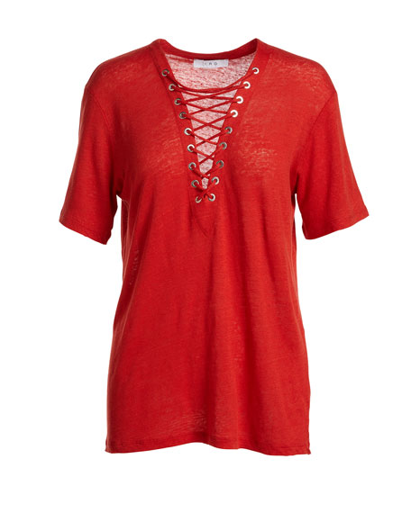 Imis Laced Linen Slub Jersey Tee, Red