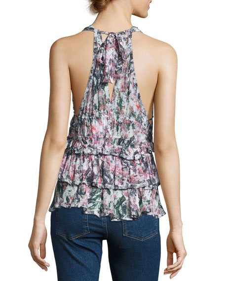 Miren Tiered Abstract Top, Pink