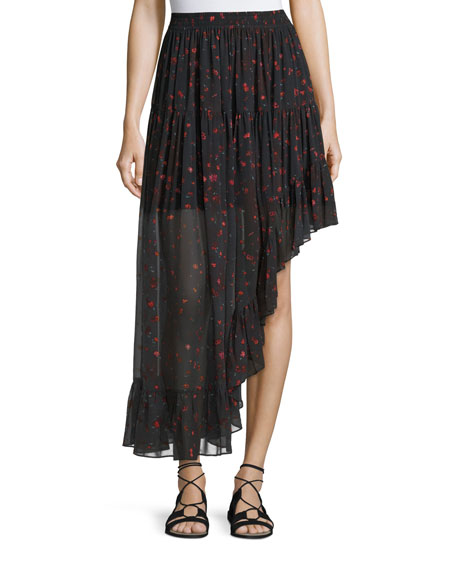 Jonel Printed Asymmetric Chiffon Skirt, Black