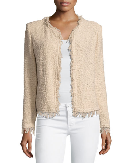 Iro Shavani Fringe Boucle Jacket, Light Pink
