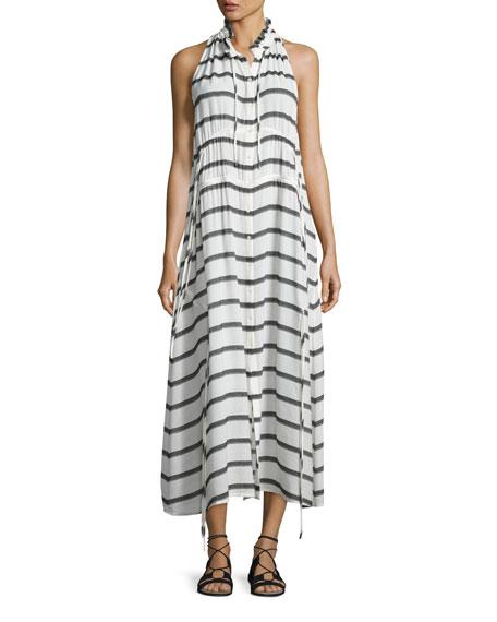 Karell Striped Voile Midi Dress, Ecru