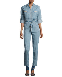 Polly Zip-Front Chambray Jumpsuit, Blue