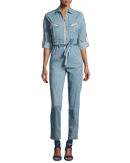 Iro Polly Zip-Front Chambray Jumpsuit, Blue