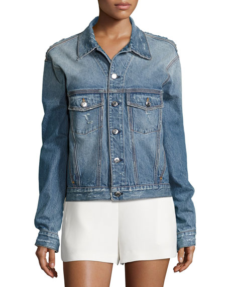 Bill Distressed Denim Jacket, Blue