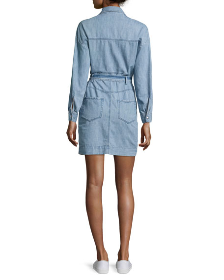 Phibie Long-Sleeve Cotton Chambray Dress, Blue