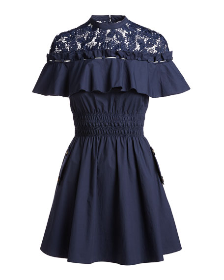Hudson Lace-Yoke Ruffle Mini Dress, Navy