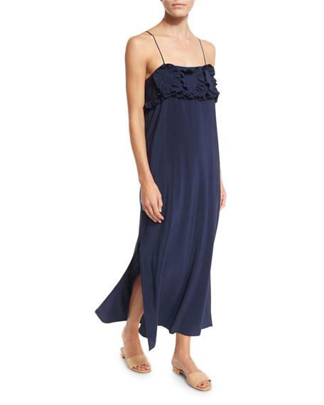 Sleeveless Silk Ruffle-Trim Maxi Dress, Blue