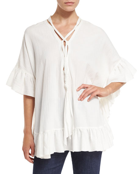 Short-Sleeve Voile Ruffle-Trim Tunic, White