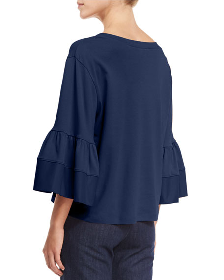 Fluid Jersey Bell-Sleeve Top, Navy