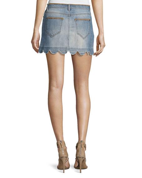 Scalloped Denim Miniskirt, Blue
