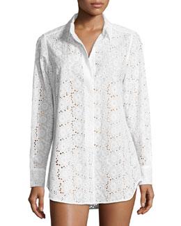 Broderie Anglaise Beach Shirt, White