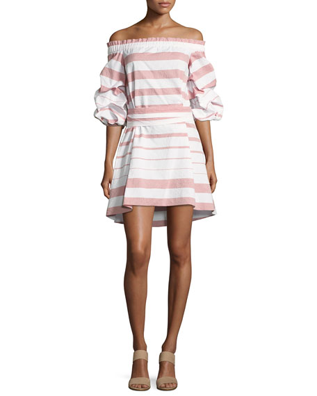 Alexis Olevetti Off-the-Shoulder Striped Dress, Pink/White