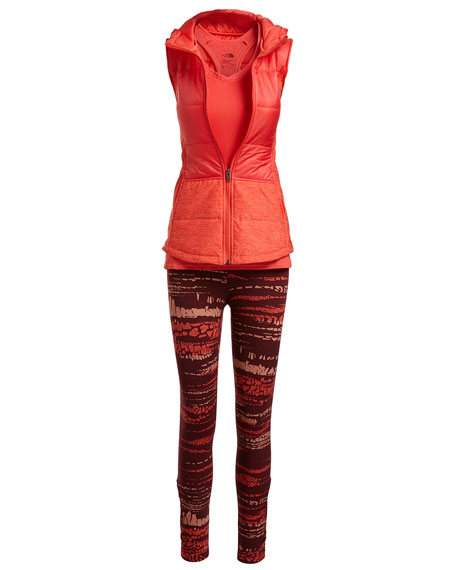 Pseudio Puffer Hooded Tunic Vest, Cayenne Red
