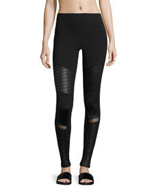 High Waist Moto Sport Leggings With Mesh Panels by Alo Yoga