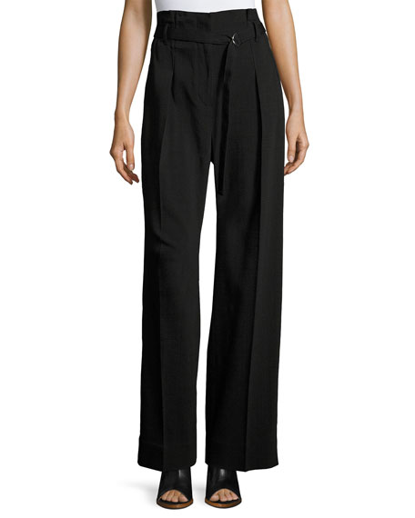 Paper Bag High-Waist Wide-Leg Pants, Black