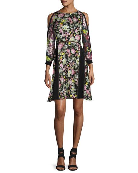 Cold-Shoulder Floral Silk Dress, Multicolor