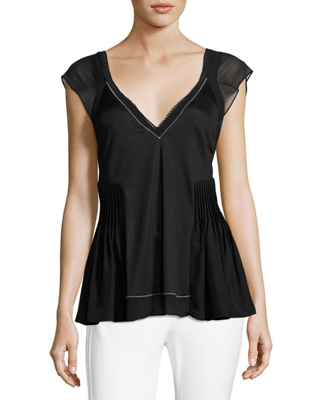 V-Neck Flutter Top with Bra Detail, Black