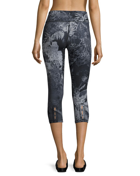 Motivation Printed Crop Sport Leggings, Black Pattern
