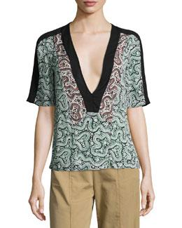 Lilias Short-Sleeve Abstract Silk Top, Green