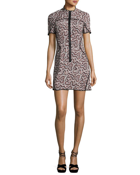 Jude Abstract Silk Zip-Front Mini Dress, Red/Multicolor