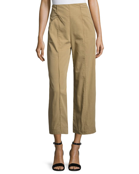 Marley Cropped High-Rise Wide-Leg Chino Pants, Brown