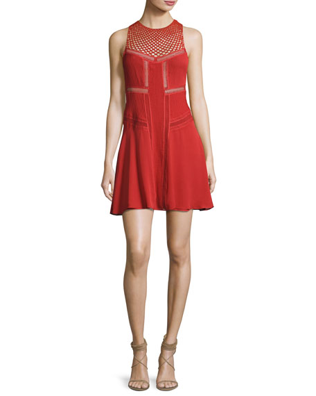 Elin Sleeveless Pintucked Silk Mini Dress, Brick