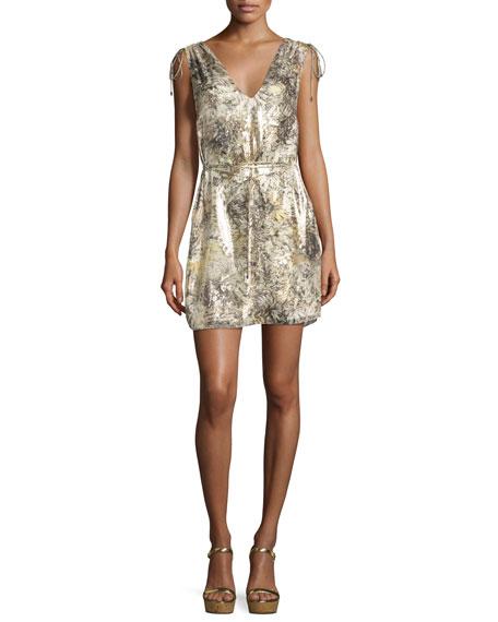 The Follow Me Metallic Floral Dress, Gold Multicolor