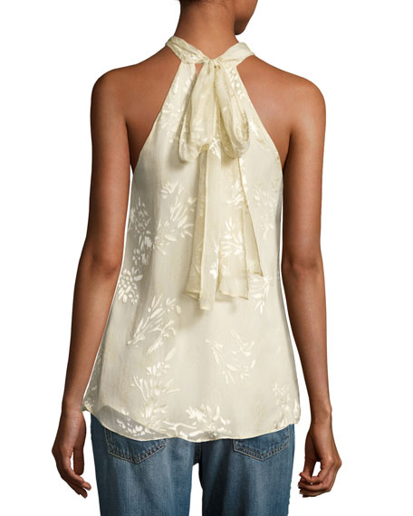 Narcissus Flocked Floral Halter Top, Antique White